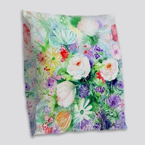 Watercolor Good Mood Flowers Burlap Throw Pillow