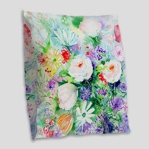 Watercolor Good Mood Flowers Burlap Throw Pillow