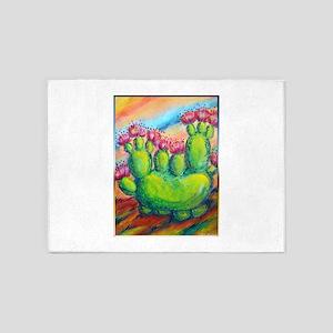 Beautiful, colorful desert cactus 5'x7'Area Rug