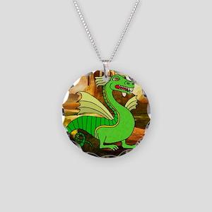 Green Dragon Necklace Circle Charm