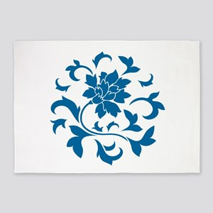 Oriental Flower - Snorkel Blue Circle White BG 5'x