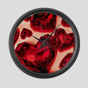 Ruby Hearts Large Wall Clock
