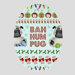 BAH HUM PUG Oval Ornament