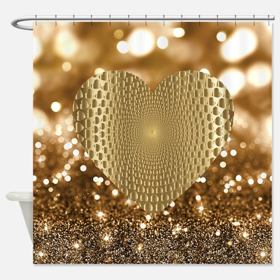 Golden Prismatic Heart Bokeh Faux Shower Curtain