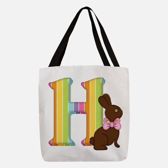 Letter H Chocolate Easter Bunny Polyester Tote Bag