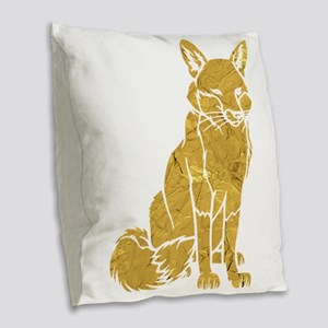 Golden Fox Burlap Throw Pillow
