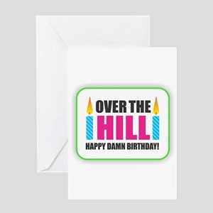 Over the Hill Happy Damn Birthday Greeting Cards