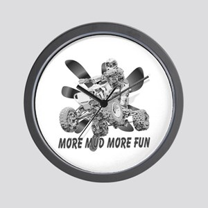 More Mud More Fun on an ATV (B/W) Wall Clock