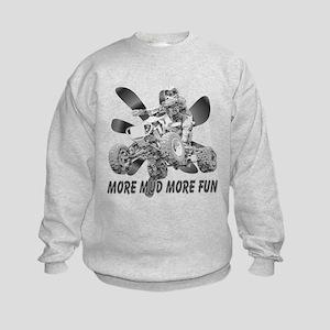 More Mud More Fun on an ATV (B/W) Kids Sweatshirt