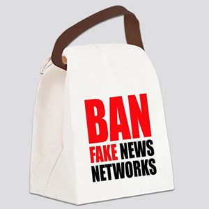 Ban Fake News Networks Canvas Lunch Bag