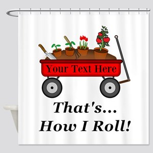 Personalized Red Wagon Shower Curtain
