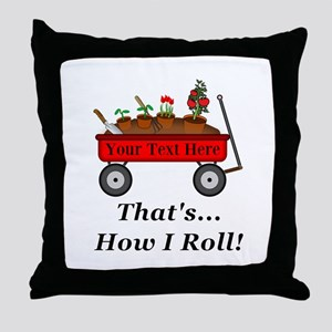 Personalized Red Wagon Throw Pillow