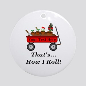 Personalized Red Wagon Round Ornament