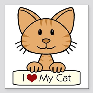 "I Love My Cat Square Car Magnet 3"" x 3"""