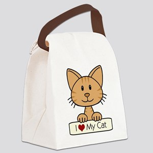 I Love My Cat Canvas Lunch Bag