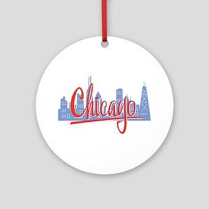 Chicago Red Script On Dark Round Ornament