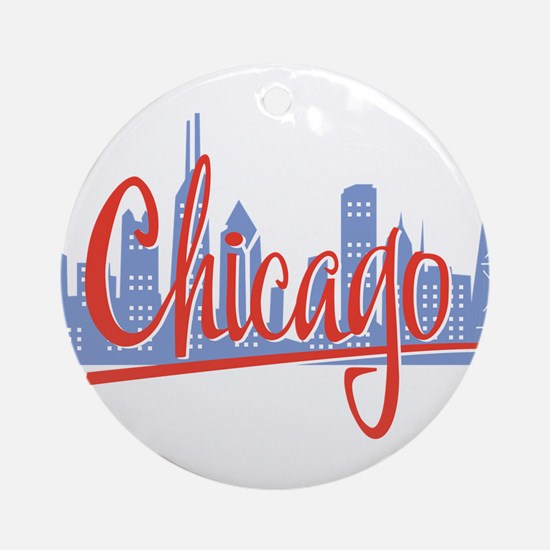Chicago Red Script On Dark.png Round Ornament