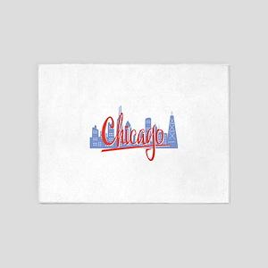 Chicago Red Script On Dark 5'x7'Area Rug