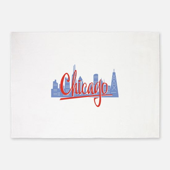 Chicago Red Script On Dark.png 5'x7'Area Rug