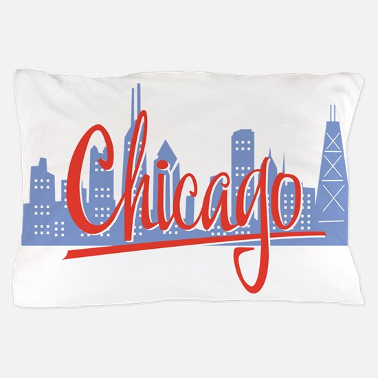Chicago Red Script On Dark.png Pillow Case