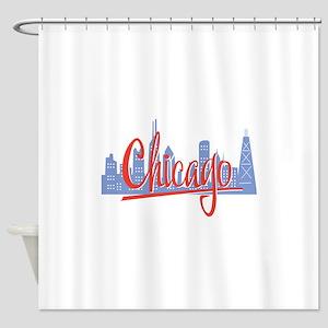 Chicago Red Script On Dark Shower Curtain