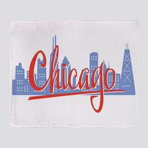 Chicago Red Script On Dark Throw Blanket