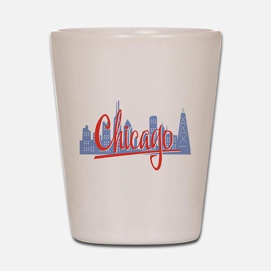 Chicago Red Script On Dark.png Shot Glass
