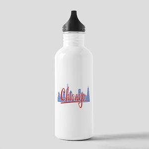 Chicago Red Script On Dark Water Bottle