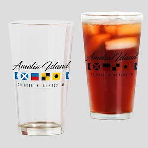 Amelia Island Nautical Flags Drinking Glass