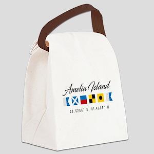 Amelia Island Nautical Flags Canvas Lunch Bag
