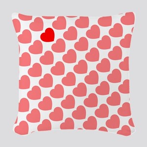pink red Woven Throw Pillow