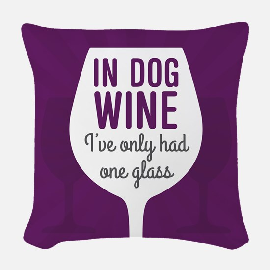 Dog Wine Woven Throw Pillow