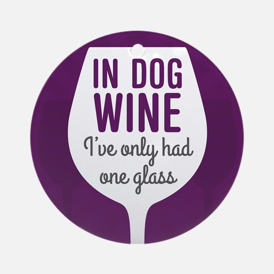 Dog Wine Round Ornament