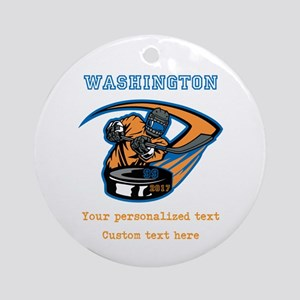Hockey Personalized Round Ornament