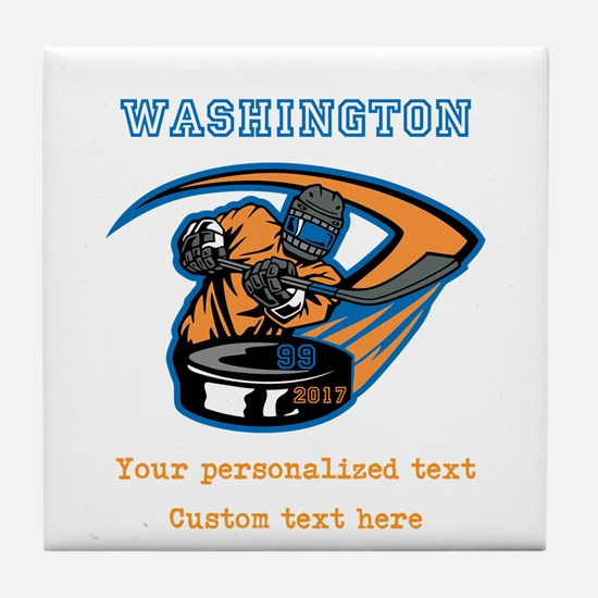 Hockey Personalized Tile Coaster