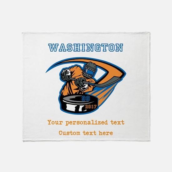 Hockey Personalized Throw Blanket