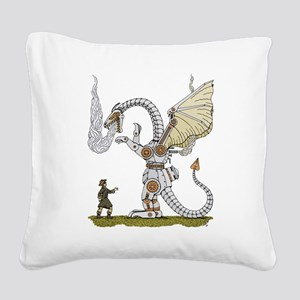 Mechanical Dragon Square Canvas Pillow