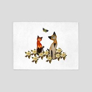 Kitties With Butterflies 5'x7'Area Rug