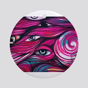 Eyes in the Hair Round Ornament
