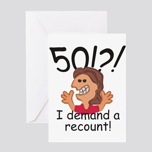 Recount 50th Birthday Red Greeting Cards