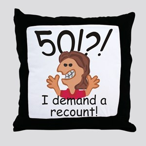 Recount 50th Birthday Red Throw Pillow
