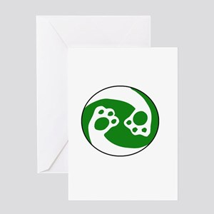 animal paws in a circle symbol - gr Greeting Cards