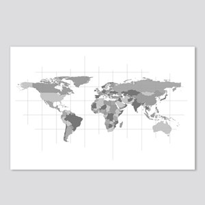 World Map Postcards (Package of 8)