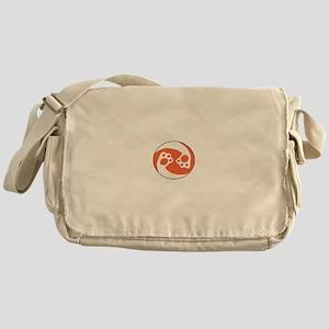 animal paws in a circle symbol - ora Messenger Bag