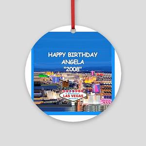 Happy Birthday Las Vegas Ornament (Round)