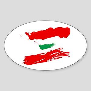 Lebanese Flag Brush Oval Sticker