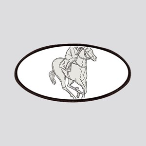 Jockey Riding Thoroughbred Horse Mono Line Patch
