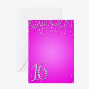 Sweet 16 Sixteen Diamond Bling Drape Greeting Card