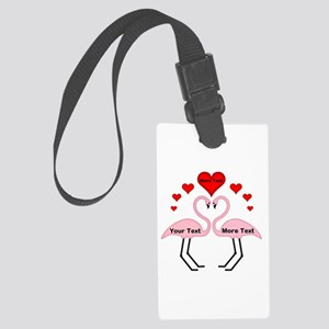 Personalized Flamingos In Love Large Luggage Tag