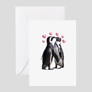 Valentine Penguins Greeting Cards